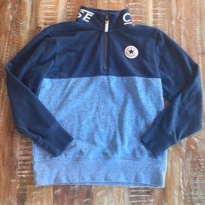 Converse boys zip mock-neck color-block sweatshirt
